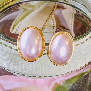 Vintage Gold tone Faux Pearl Stud Clip On Earrings